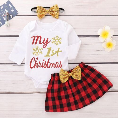 UK Newborn Baby Girl My 1st Christmas Romper+Tulle Dress+Headband Outfit Clothes
