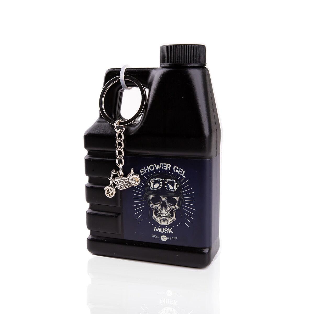 Duschgel für Männer im Motoröl Deko-Kanister 200ml, mit Schlüsselanhänger Bike