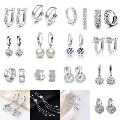 925 Sterling Silver Plated Crystal Snap Closure Hoop Dangle Earrings For Women Sterling Dangling Earring