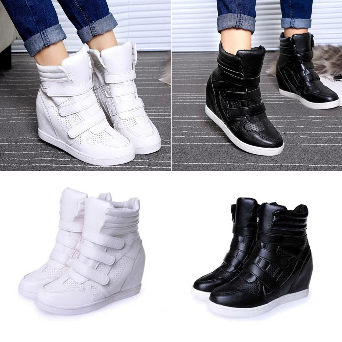 2017 FASHION Women's Ankle Boots High Top Wedge Hidden ...