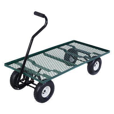 Wagon Garden Cart Nursery Steel Mesh Deck Trailer Heavy Duty Cart Yard Gardening
