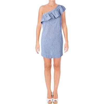 Aqua Womens Mara Linen Blend Striped One Shoulder Casual Dre