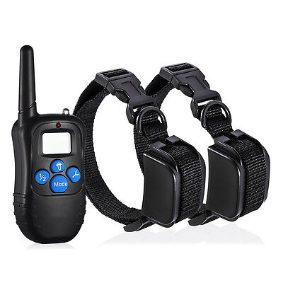 1000 Yard Waterproof Remote LCD 100LV Electric Shock Vibrate Dog Training Collar
