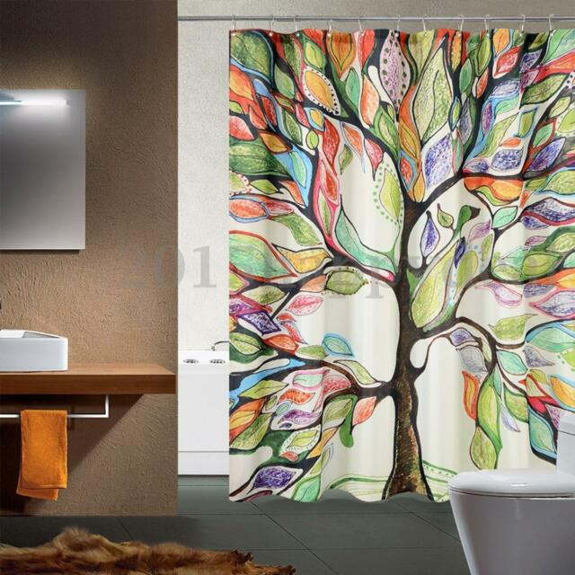 150x180cm Colorful Tree Pattern Shower Curtain Bath Waterproof Fabric + Hooks