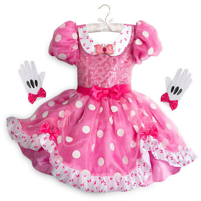 Disney Store Minnie Mouse Halloween Costume Dress Gloves Set Girl Size 4 (Stores Halloween Costumes)