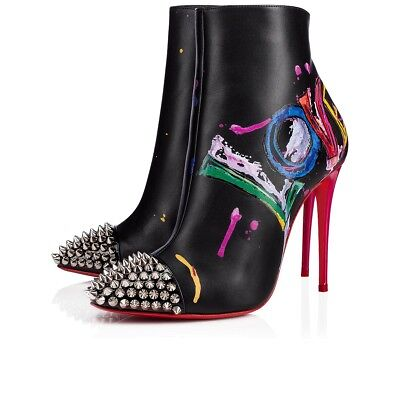 NIB Christian Louboutin Love Is A Boot 100 Black Red Spike Heel Ankle Bootie 36
