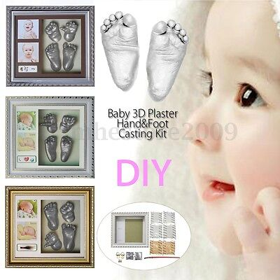 3D Plaster Handprints Footprints Baby Hand Foot Casting Kit Keepsake gift Frame