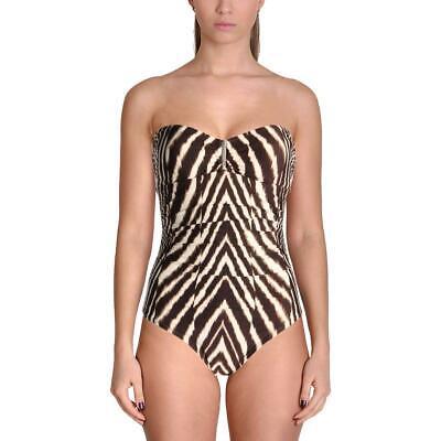 Calvin Klein Animal Print Bandeau One-Piece Swimsuit UV Protectant. UPF 50+ (Animal Bandeau)