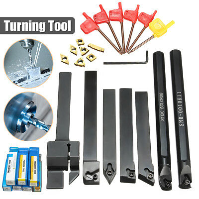 7 Set 10mm Shank Lathe Turning Tool Holder Boring Bar Carbide Insert Kits