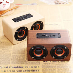 Wireless bluetooth Speaker Wooden Portable LED Alarm Clock FM Radio AUX TF Card
