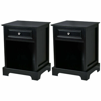2 PCS Night Stand End Accent Table Drawer Chest Sofa Side Bedside Storage Black 2 Drawer Bedside Chest