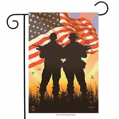 American Heroes Patriotic Garden Flag Military Troops 12.5