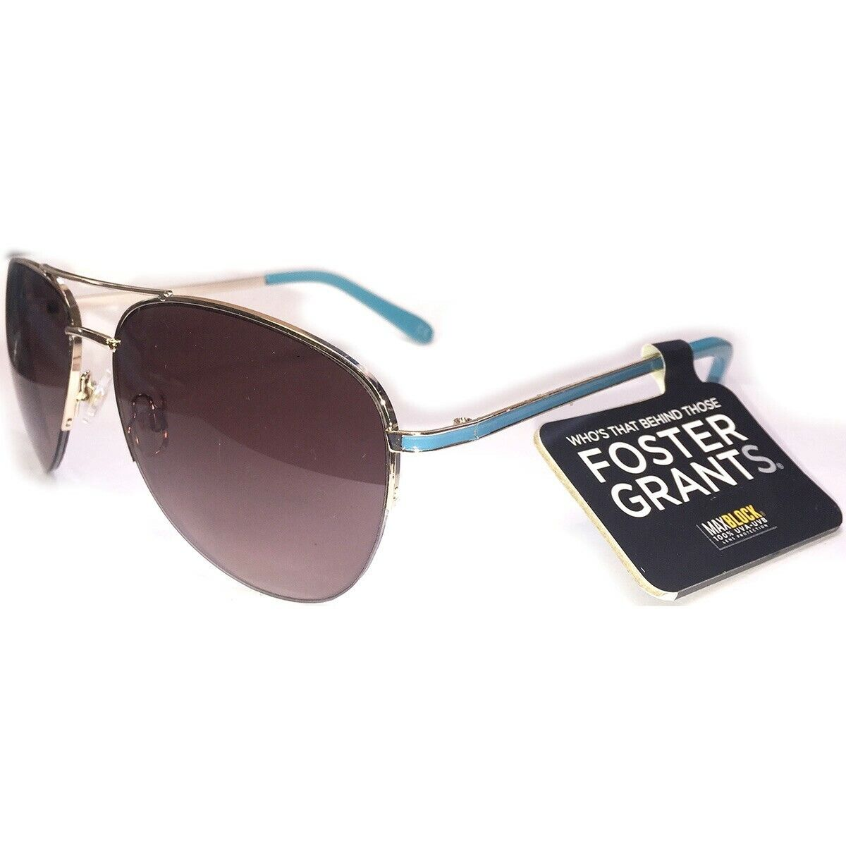 Foster Grant Gold Half Frame Aviator Style Turquoise Temple