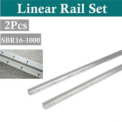 2pcs Sbr16-1000mm 16mm Fully Supported Linear Motion Rail Shaft Rod Slide Rods