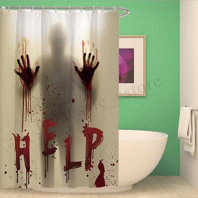 Halloween Horror Shower Curtain Waterproof Scary Bloody Hands Bathroom Decor - Halloween Bathroom Decor