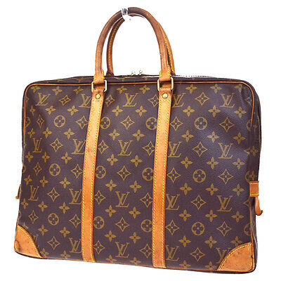Auth LOUIS VUITTON Voyage Briefcase Bag Monogram Leather Brown M53361 65D890