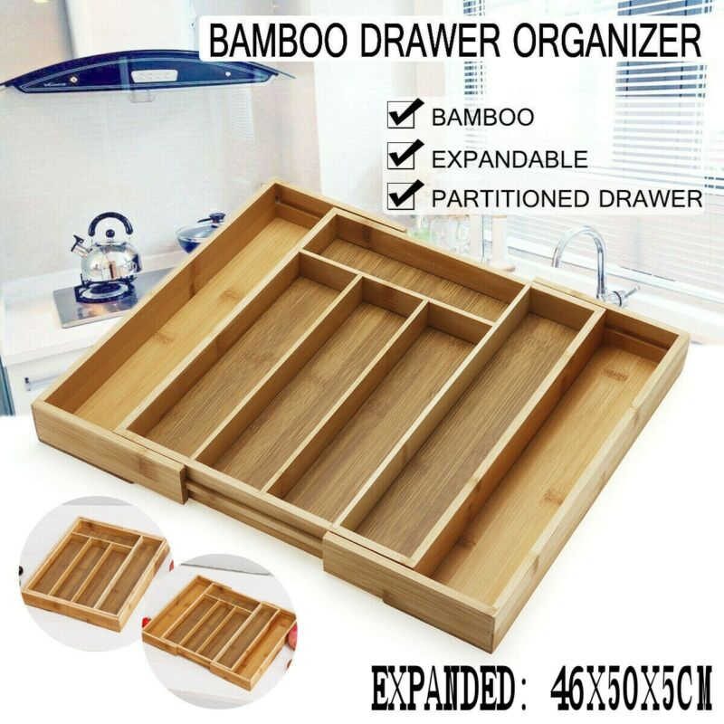 Bamboo Kitchen Drawer Organizer - Expandable Silverware Orga