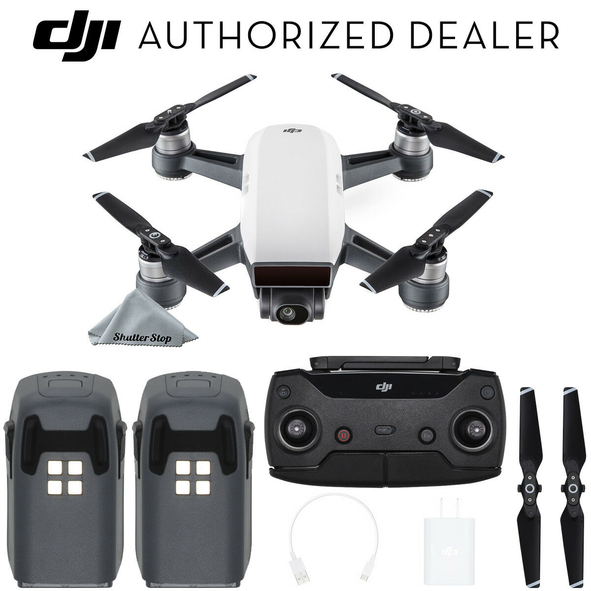 DJI Spark Quadcopter - Alpine White with 2 Batteries + Remote