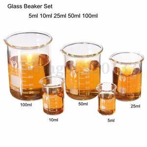 5X Becherglas Messbecher Glas Labor Borosilikat Ofenfest Becher 15-100ML NEU