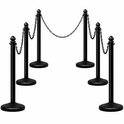 6pcs Set Plastic Stanchion 40 Chain C-hooks Fillable Base Crowd Control Black