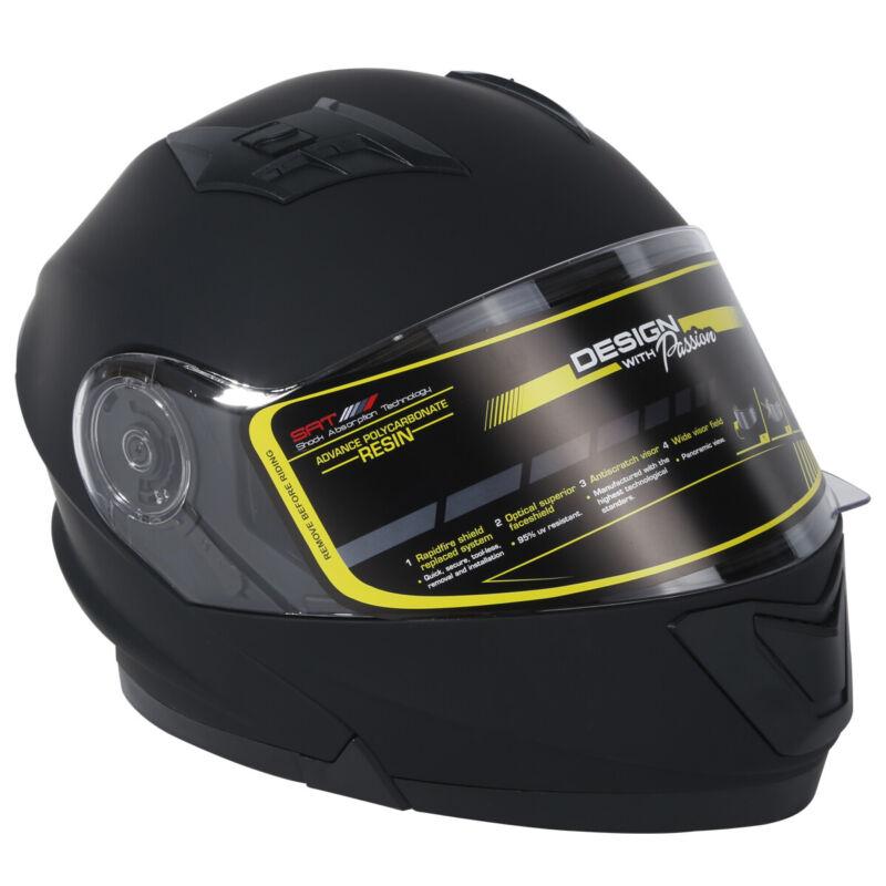 TCMT DOT Dual Visor Flip Up Motorcycle Helmet Motocross Full Face Street Bike M
