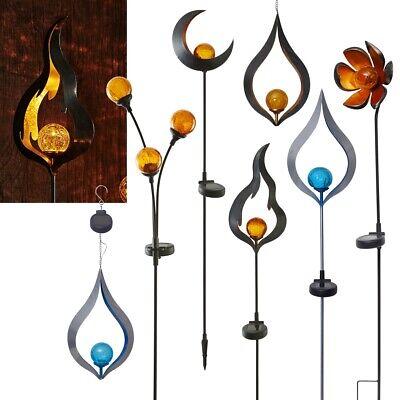 Glas 1 Licht Hängen (Metall Design LED Gartenstab Glas-Kugel Solar Leuchte Gartenleuchte Hängelampe)