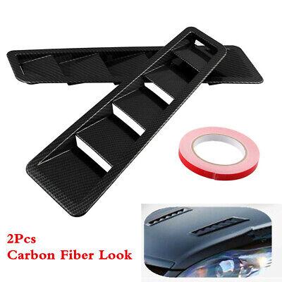 2x Universal Car Race Hood Air Vent Louver Panel Trim Black ABS Carbon Pattern