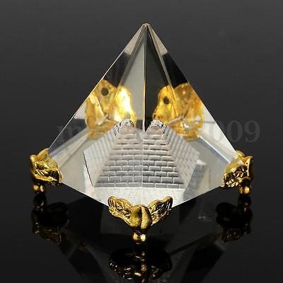 Small Feng Shui Egypt Egyptian Crystal Clear Pyramid REIKI Healing Prizm Amulet