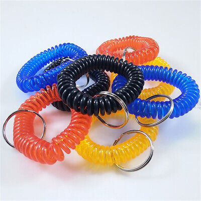 2/10Pcs Stretch Coil Spiral Bracelet Key Chain Key Ring Retractable Accessories](Spiral Keyring)