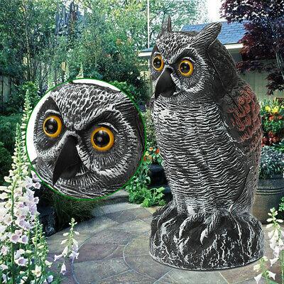 Lifelike Head Owl Decoy Protection Repellent Bird Pest Scarer Scarecrow Garden