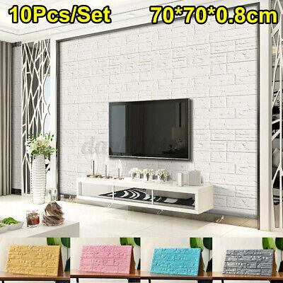 Home Decoration - 10Pcs Set 3D Brick Wall Stickers Panels Self-Adhesive Decals Bedroom Home Decor