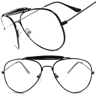 Old School Classic Vintage Retro Black 80's 90's Aviation Clear Lens Eye (Old Aviator Glasses)
