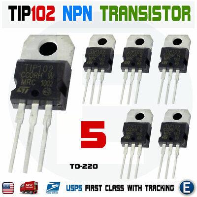 5pcs Tip102 Npn 100v 8a Darlington Transistor To-220 Bipolar 80w St