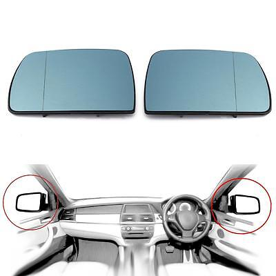 Pairs Door Mirror Glass Heated Blue Wing Blue Left  Right For BMW X5 E53 99 06