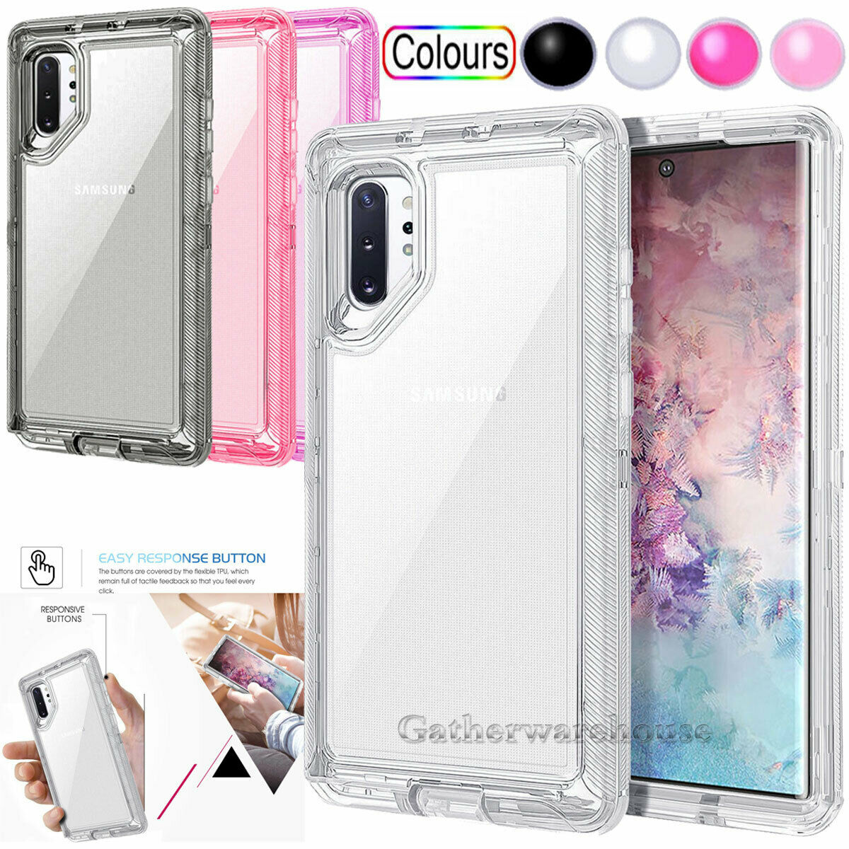 For Samsung Galaxy Note 10 Plus Case Crystal Clear Shockproo