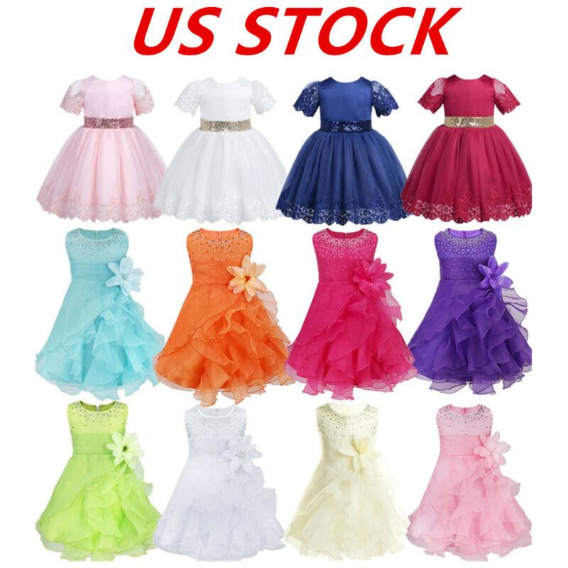 US Girls Princess Dress Baby Toddler Party Wedding Birthday