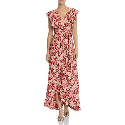 WAYF Womens Sara Pink Floral Ruffled Maxi Wrap Dress M BHFO 0200