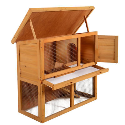 "Wooden Chicken Coop Hen House 36"" Rabbit Wood Hutch Poultry Habitat Cage"