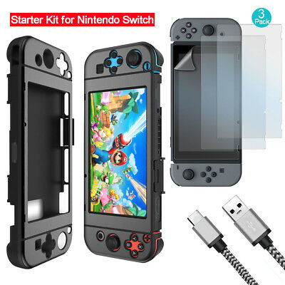 Купить EEEKit - Hard Case Cover+3pcs Screen Protector+Type C Charging Cable for Nintendo Switch
