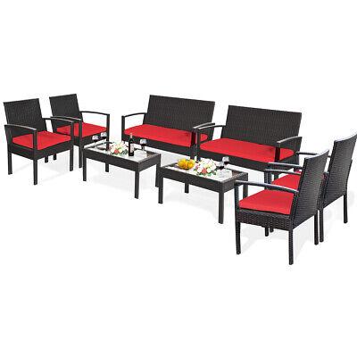 Garden Furniture - 8PCS Patio Rattan Furniture Set Cushioned Loveseat Armrest Garden Backyard Red
