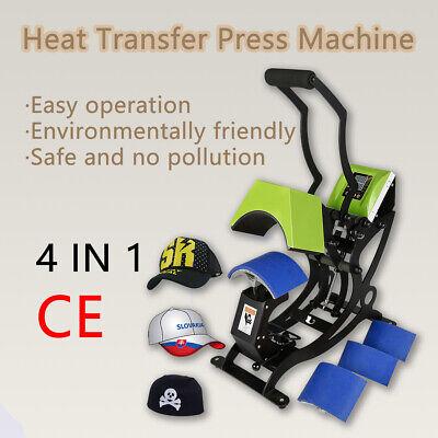 4 In 1 Dual Digital Gas Spring Heat Press Machine Sublimation Transfer Hat Cap