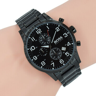 Hugo Boss Herren Uhr Chronograph 1513180 Aeroliner Schwarz Edelstahl Armbanduhr