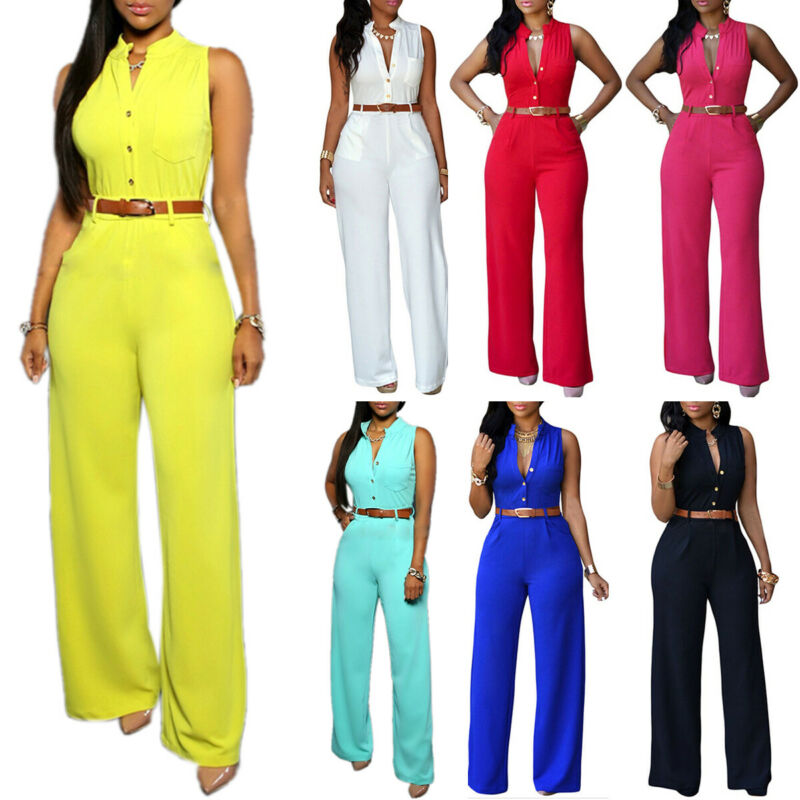 Women Sleeveless Playsuit Romper Jumpsuit Summer Beach Party Casual Long Trouser Clothing, Shoes & Accessories