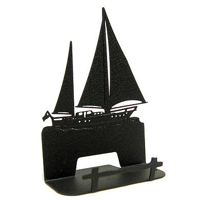 Sailboat Black Metal Business Card Holder