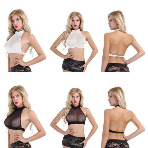 Woman Short Shirt Sexy Mesh Sheer Halter Crop Tops Tank Blouse Cami Bra Vest