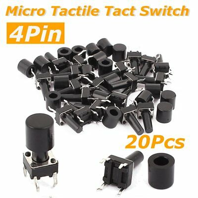 20 Pcs 4pin Push Button Momentary Contact Micro Tactile Switch Tact 6x6x12mm