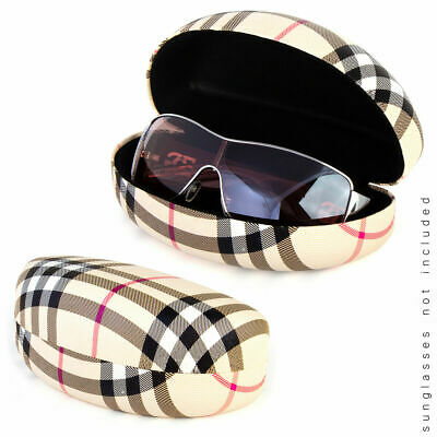 Designer Style Hard Clam Shell Faux Leather Eyeglasses Eyewear Sunglasses (Womens Sunglasses Case)