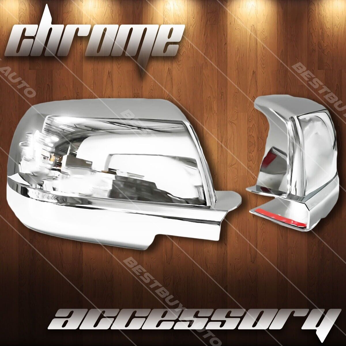 Car Parts - For 2007-2018 Toyota Tundra Chrome Full Side Mirror Cover Trim Stick On Overlay