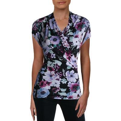 T Tahari Womens Faux Wrap Floral Print Surplice Wrap Top Shirt BHFO 9785 Floral Print Wrap Top