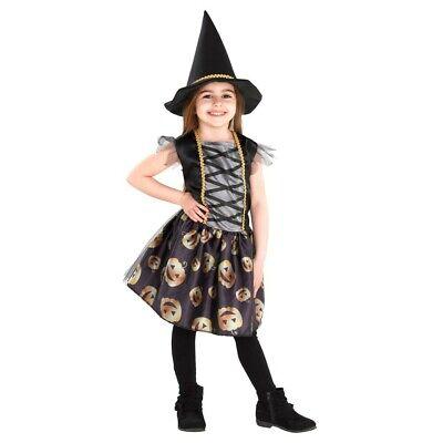 Mädchen Halloween Fasching Karneval Kostüm mit Hut Hexe 2 teilig NEU